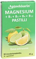 Apteekkarin Magnesium+ B pastilli sitruuna X30 kpl