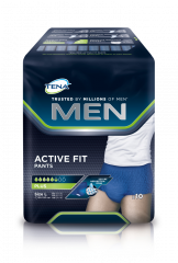 TENA Men Active Fit Pants Plus L INKOHOUSUT MIEHILLE, LANT.YMP. 95-130CM 10 kpl